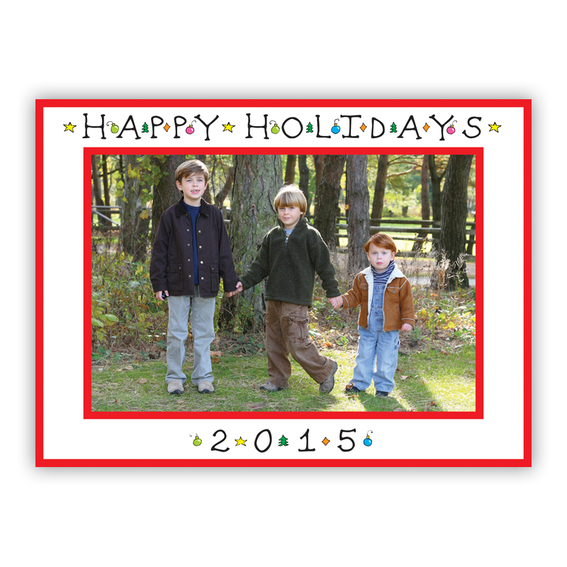 Classic Happy Holidays Horizontal Photo Holiday Greeting Card