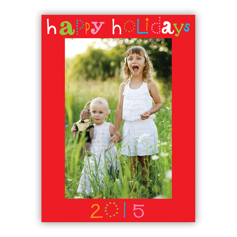 Happy Holidays Red Vertical Photo Holiday Greeting Card