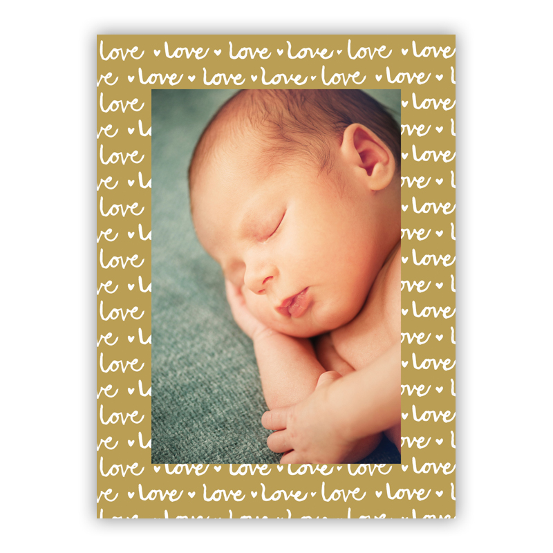 Love Gold Vertical Photo Holiday Greeting Card