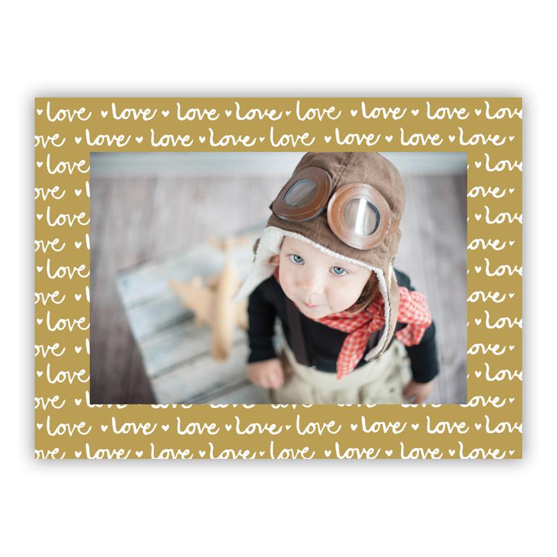 Love Gold Horizontal Photo Holiday Greeting Card