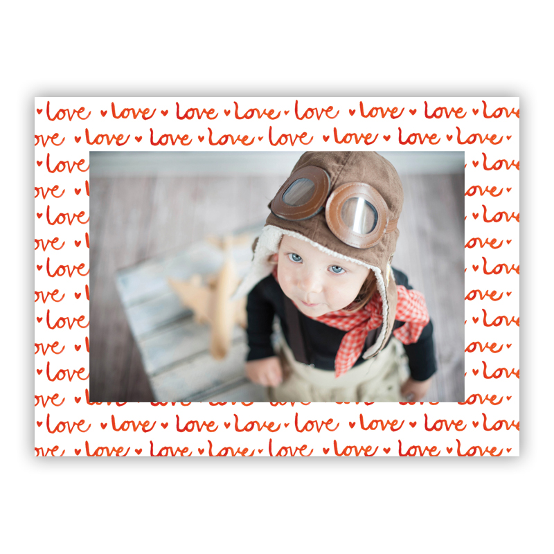 Love Red Horizontal Photo Holiday Greeting Card