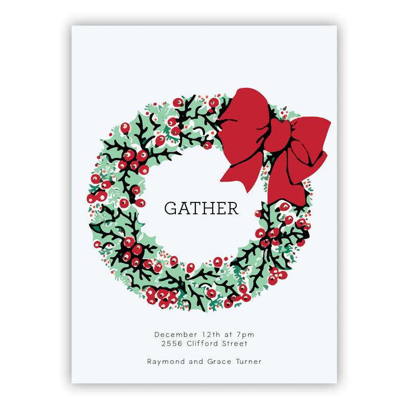 Holly Wreath Holiday Party Invitations