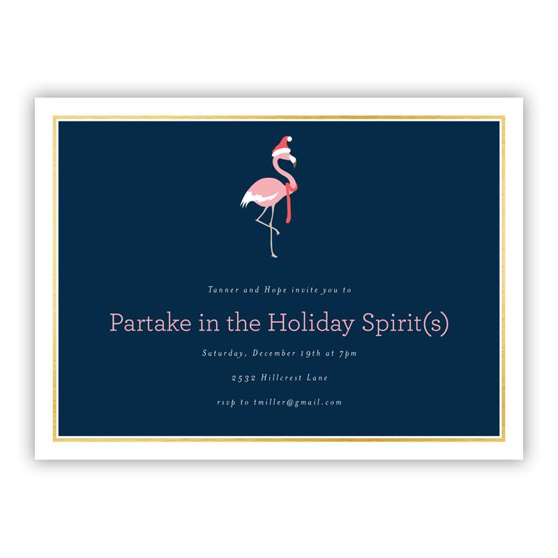 Flamingo Christmas Holiday Party Invitations