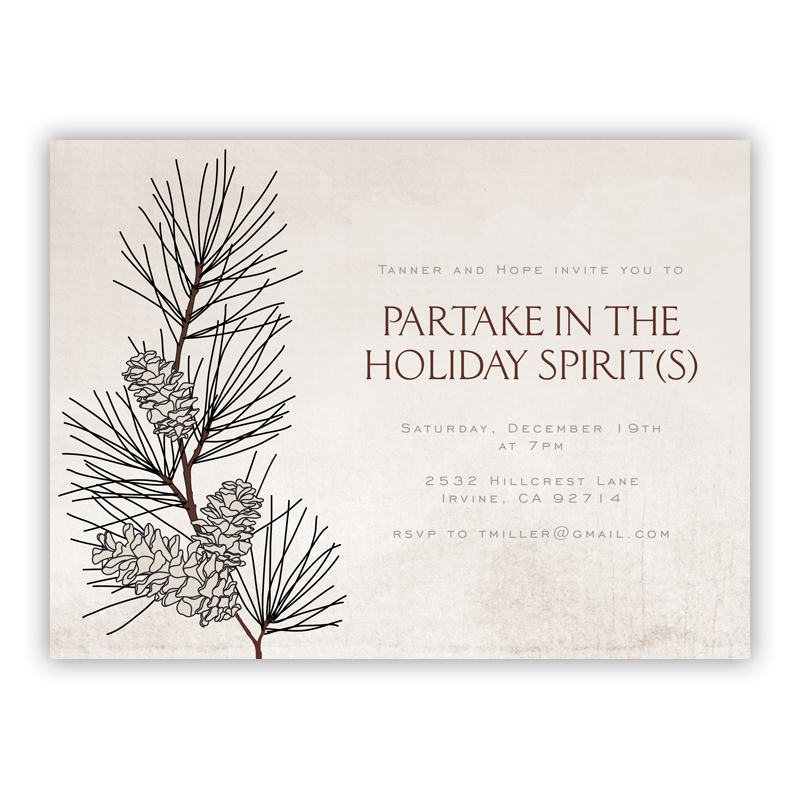 Pine Branch Holiday Party Invitations