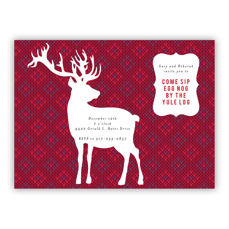 Deer Sweater Holiday Party Invitations