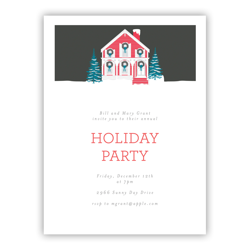 Trimmed Home Holiday Party Invitations