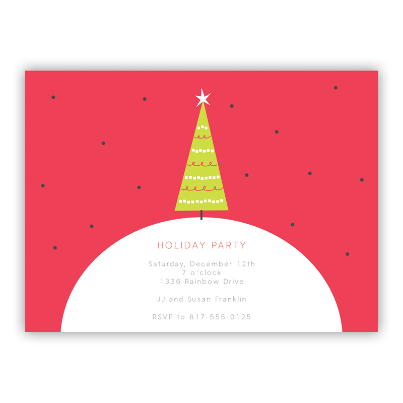 Lonely Christmas Tree Holiday Party Invitations