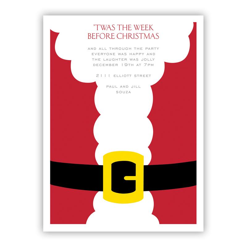 Santa Belly Christmas Holiday Party Invitations