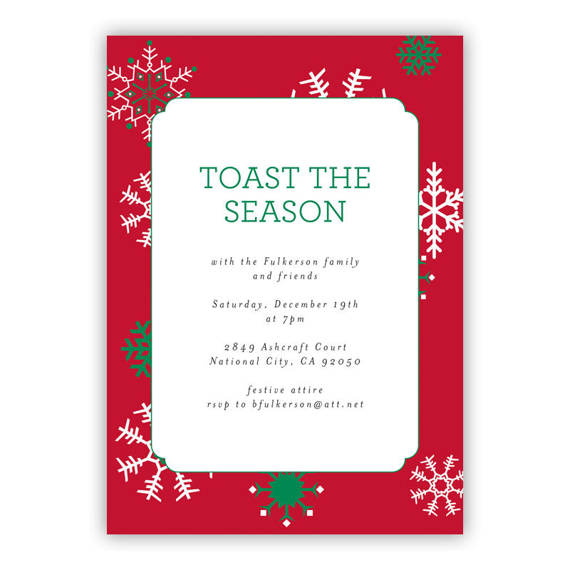 Snowflakes Red Holiday Party Invitations
