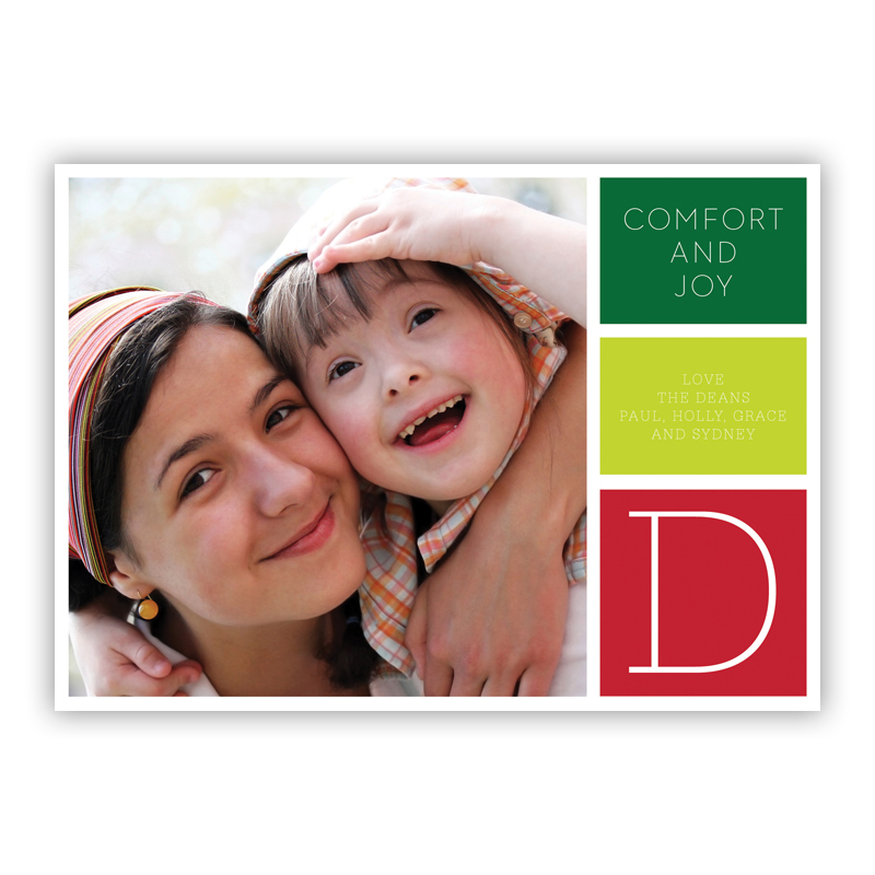 Comfort and Joy Holiday Pop Green Photo Holiday Greeting Card