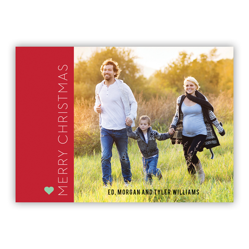 Merry Christmas Holiday Block Red Photo Holiday Greeting Card