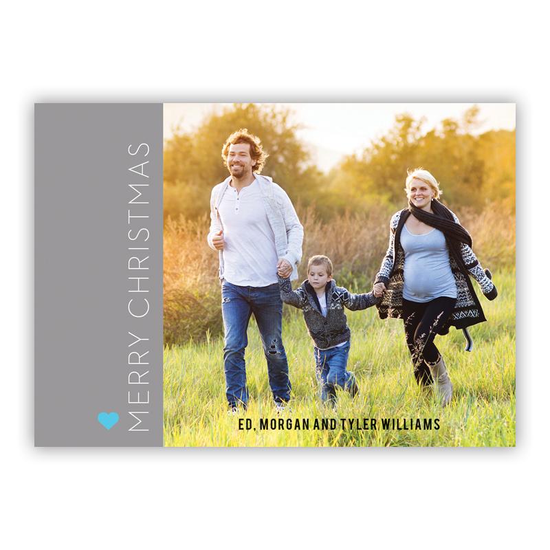 Merry Christmas Holiday Block Grey Photo Holiday Greeting Card