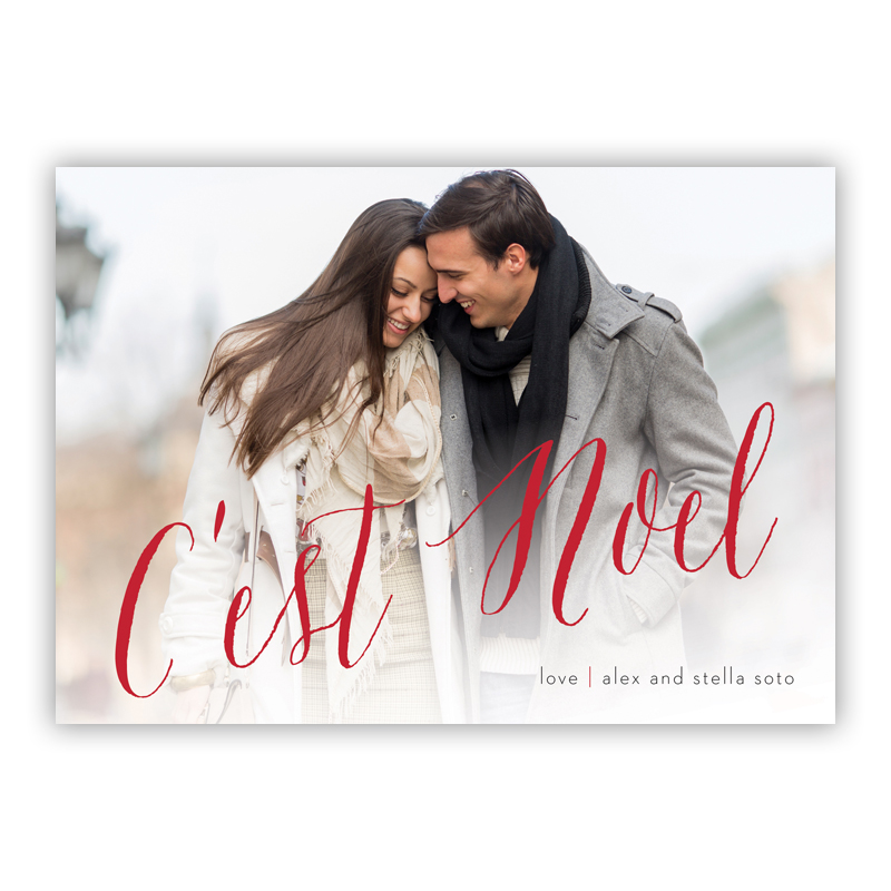 C'est Noel Red Photo Holiday Greeting Card