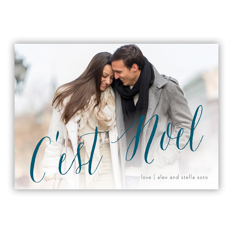 C'est Noel Cerulean Photo Holiday Greeting Card
