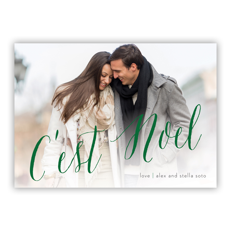 C'est Noel Green Photo Holiday Greeting Card