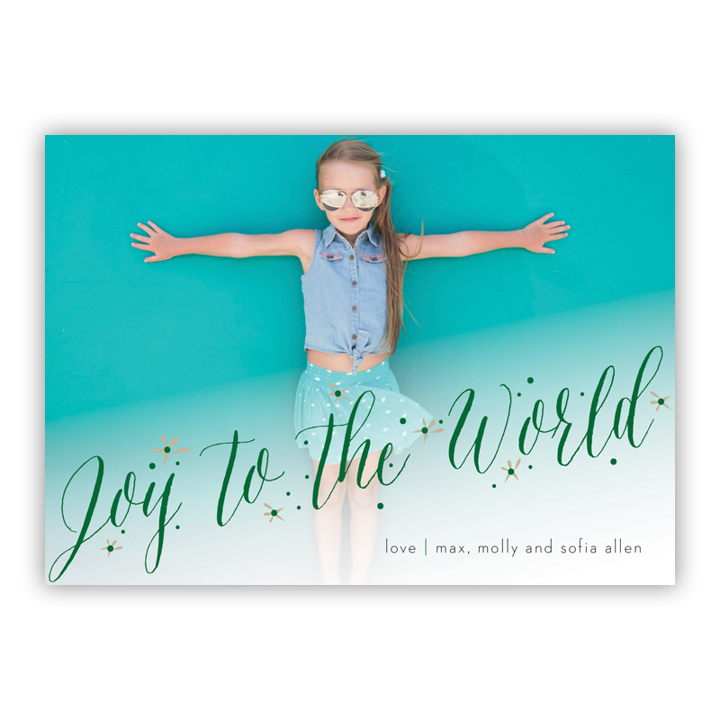 Joy to the World Kenzie Red Photo Holiday Greeting Card
