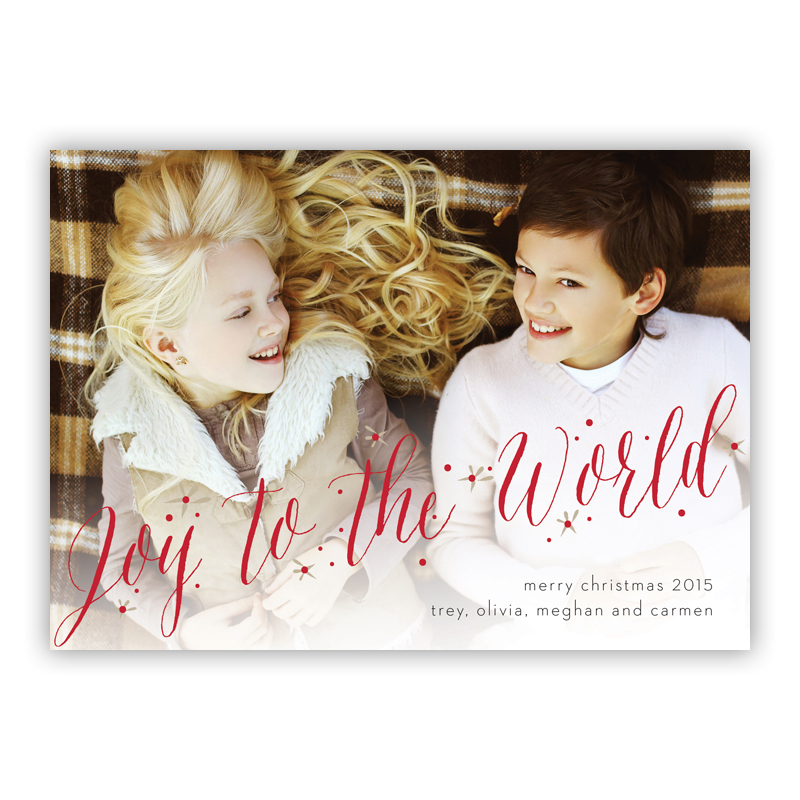 Joy to the World Kenzie Green Photo Holiday Greeting Card