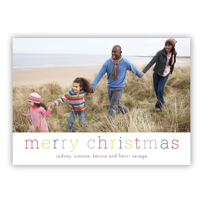 Merry Christmas Colors Photo Holiday Greeting Card