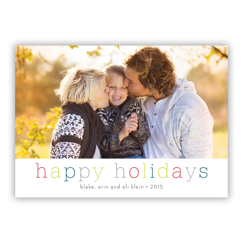 Happy Holidays Colors Photo Holiday Greeting Card