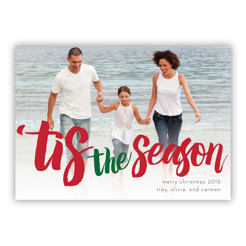 Tis the Season White Photo Holiday Greeting Card