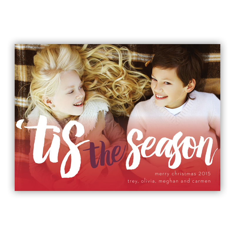 Tis the Season Red Photo Holiday Greeting Card