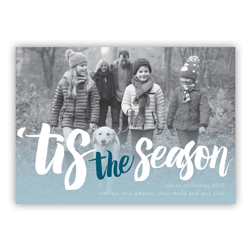 Tis the Season Blue Photo Holiday Greeting Card
