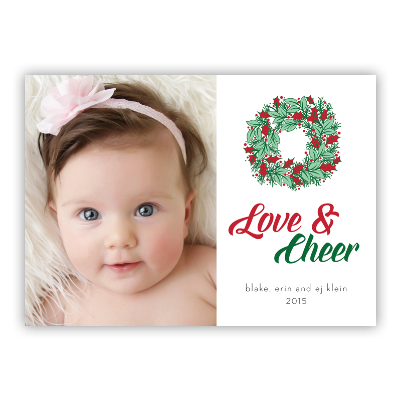 Love & Cheer Happy Wreath Green Photo Holiday Greeting Card