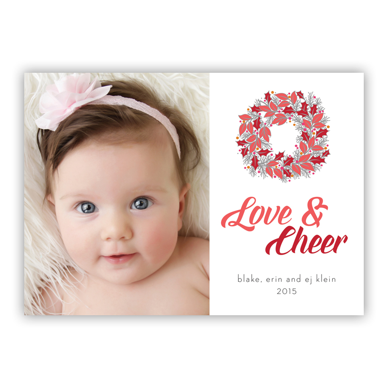 Love & Cheer Happy Wreath Red Photo Holiday Greeting Card
