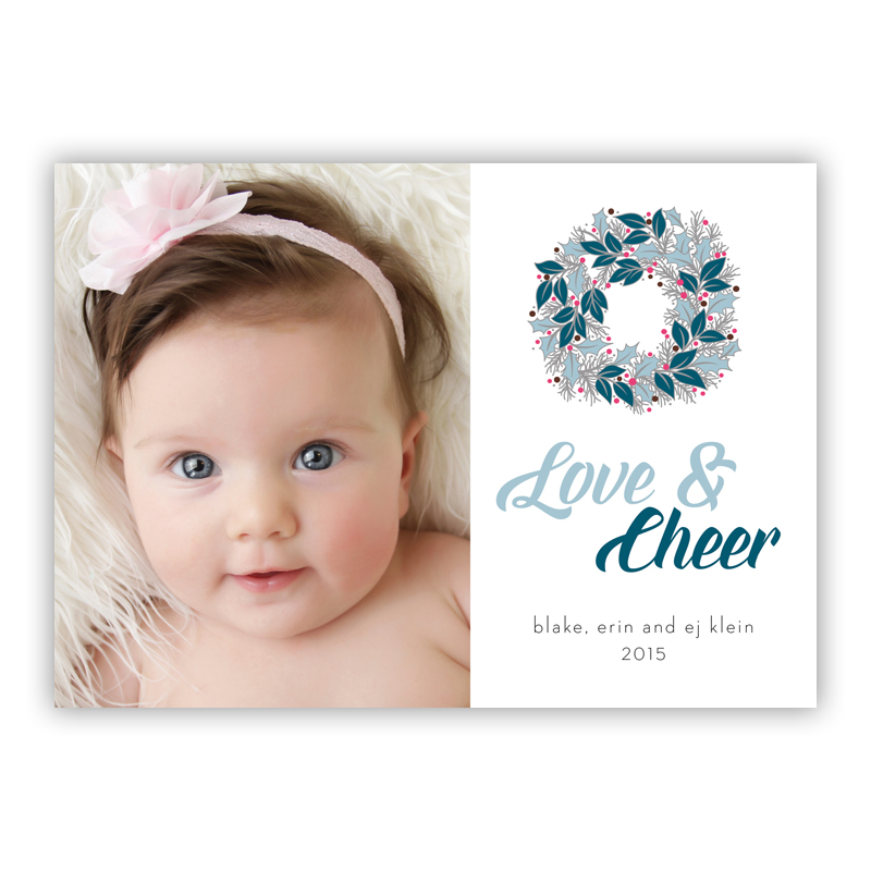 Love & Cheer Happy Wreath Blue Photo Holiday Greeting Card