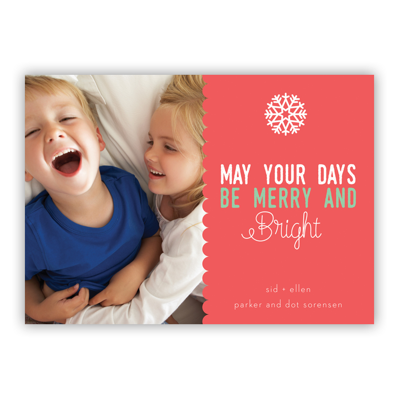 Scallop Rosy, May Your Days Be Merry and Bright Photo Holiday Greeting Card
