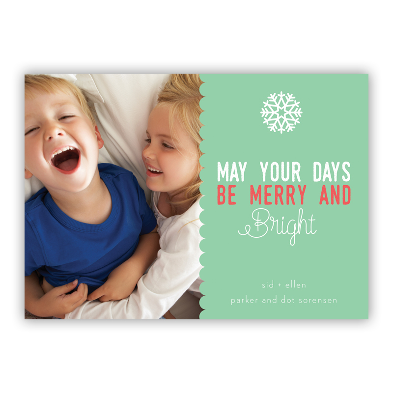 Scallop Mint, May Your Days Be Merry and Bright Photo Holiday Greeting Card
