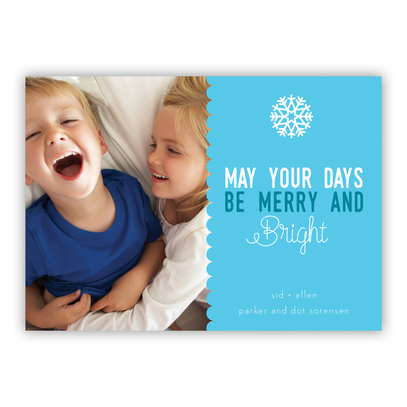 Scallop Cyan, May Your Days Be Merry and Bright Photo Holiday Greeting Card