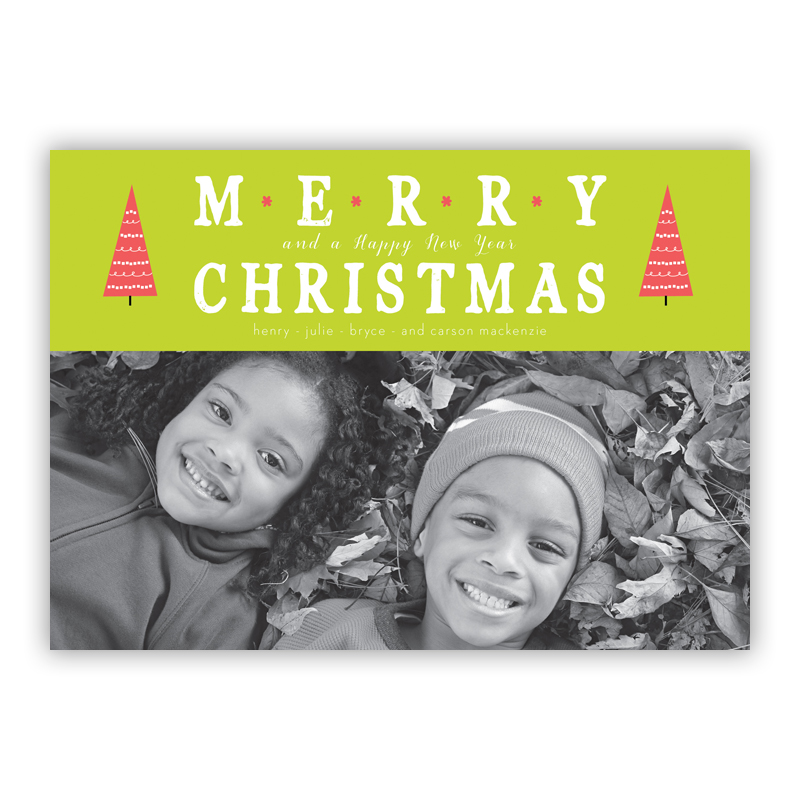Merry Christmas Tree Tops Lime Photo Holiday Greeting Card