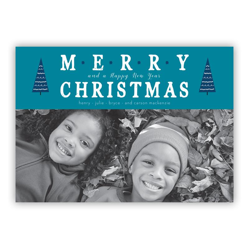 Merry Christmas Tree Tops Aqua Photo Holiday Greeting Card
