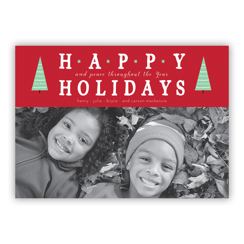 Happy Holidays Tree Tops Red Photo Holiday Greeting Card
