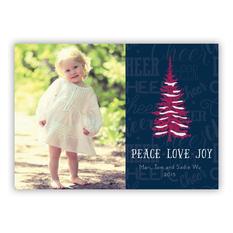 Cheer Tree Navy, Peace, Love, Joy Photo Holiday Greeting Card