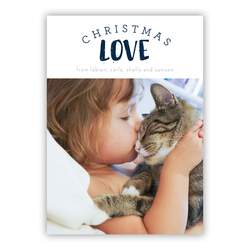 Peyton Christmas Love Navy Photo Holiday Greeting Card