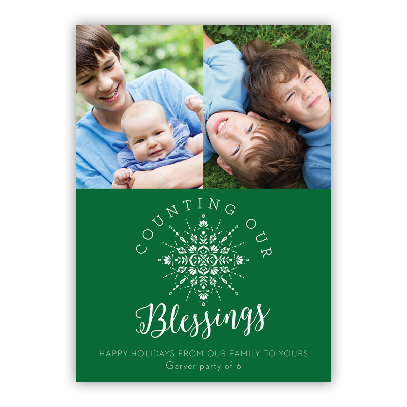 Counting Our Blessings Green Photo Holiday Greeting Card