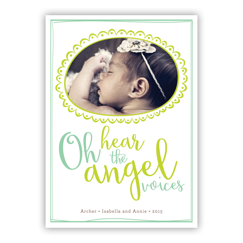 Oh hear the Angel Voices Matilda Frame Lime Photo Holiday Greeting Card