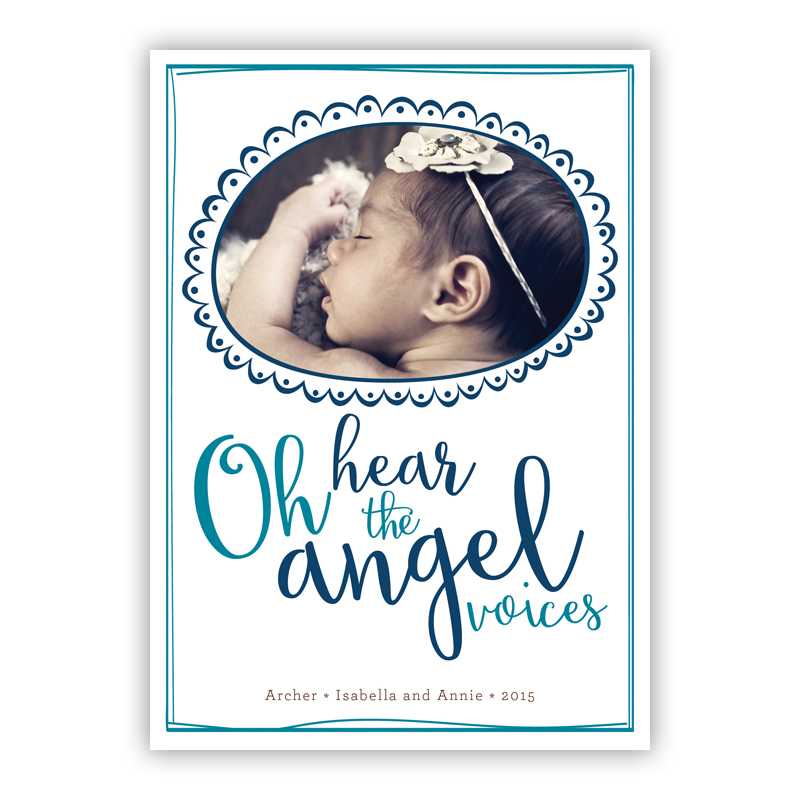 Oh hear the Angel Voices Matilda Frame Navy Photo Holiday Greeting Card
