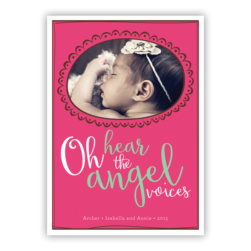 Oh hear the Angel Voices Matilda Frame Chocolate Photo Holiday Greeting Card