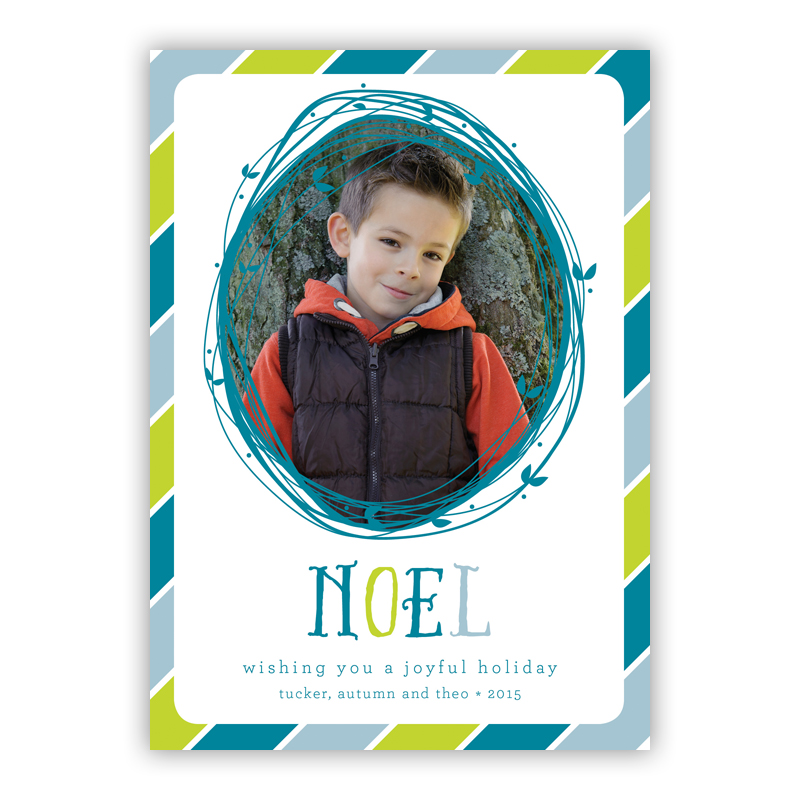 Noel Candy Blue Photo Holiday Greeting Card