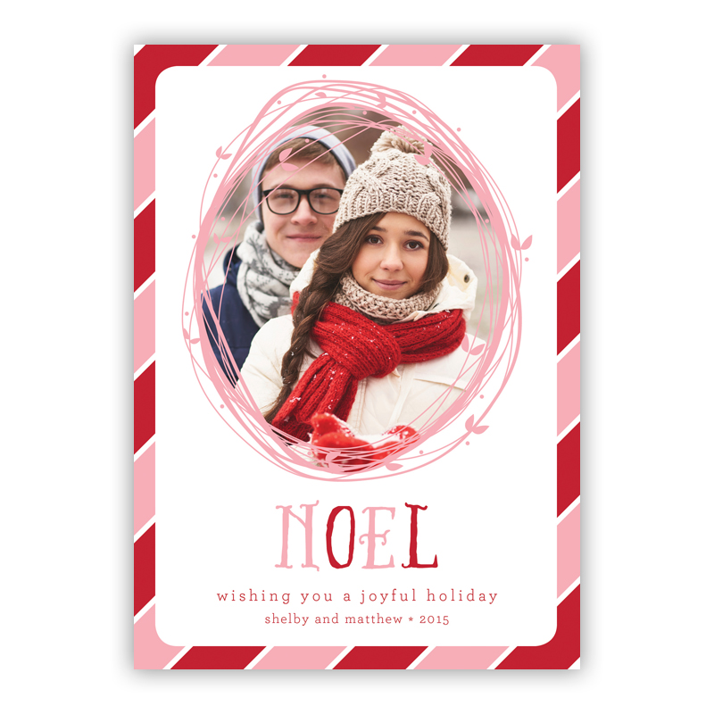 Noel Candy Cane Photo Holiday Greeting Card