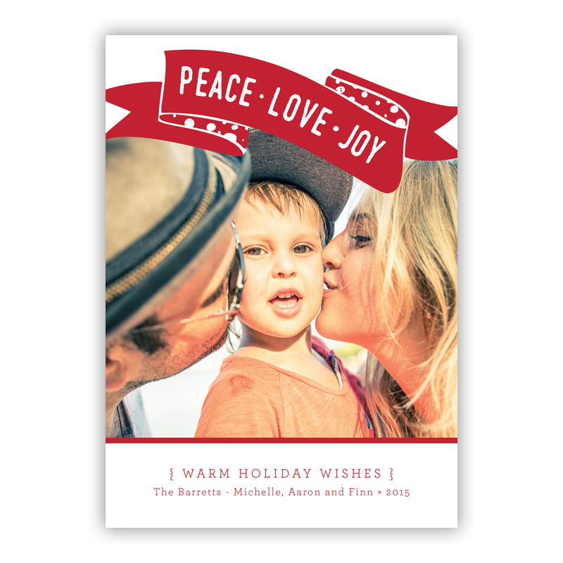 Peace, Love, Joy Franklin Red Photo Holiday Greeting Card