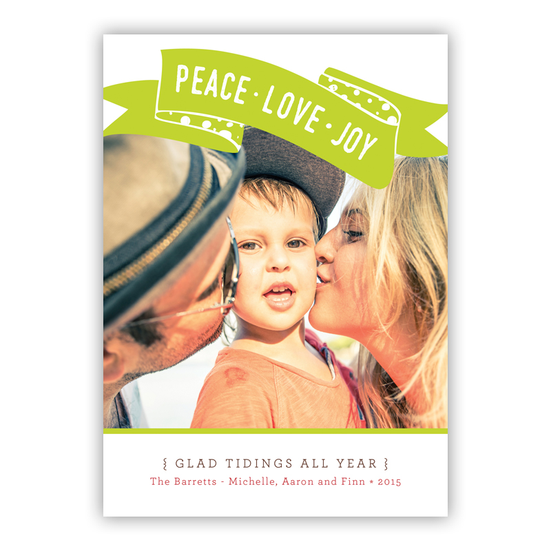 Peace, Love, Joy Franklin Lime Photo Holiday Greeting Card
