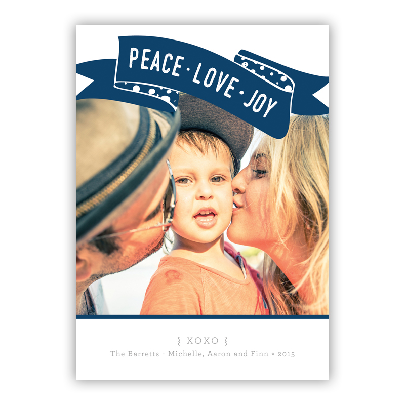 Peace, Love, Joy Franklin Navy Photo Holiday Greeting Card