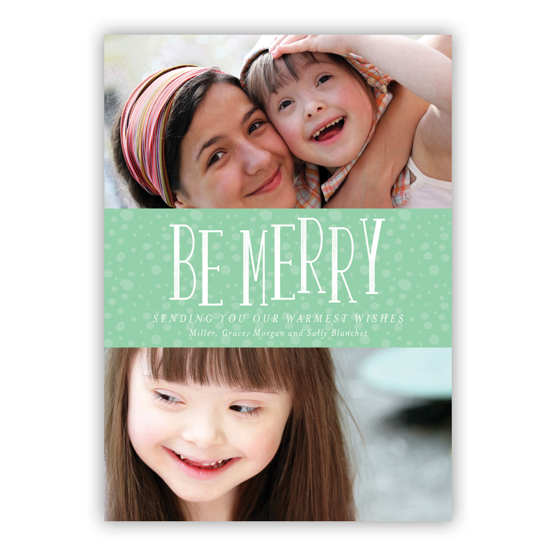 Be Merry Charlie Mint Photo Holiday Greeting Card