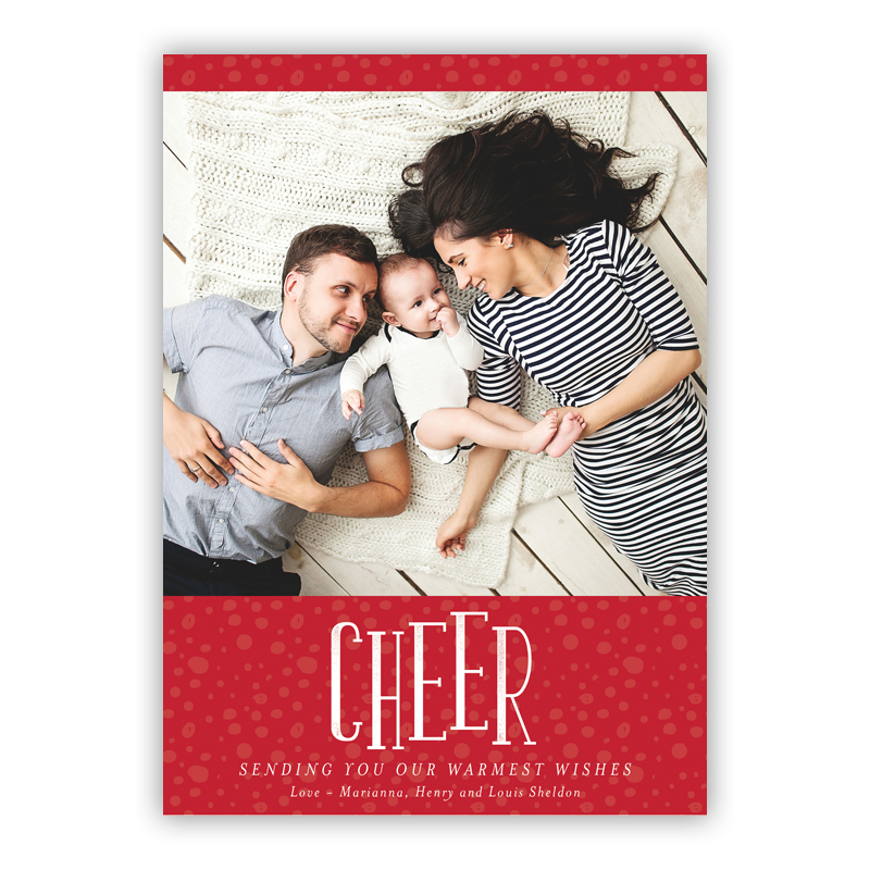 Cheer Thomas Red Photo Holiday Greeting Card
