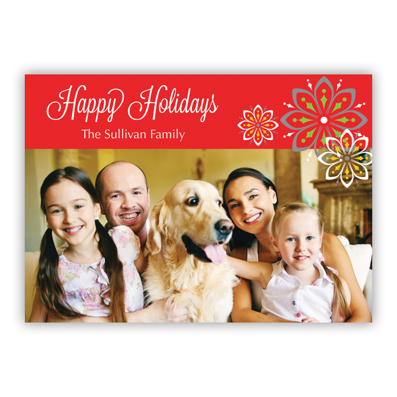 Three Flowers Holiday Photocard