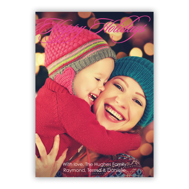 Happy Hot Pink Holiday Photocard